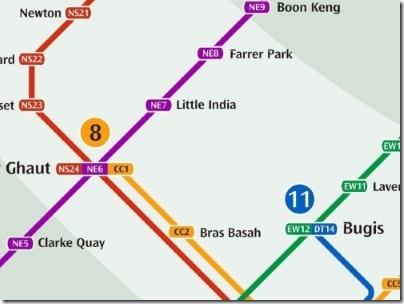 シンガポールのMRT駅リトルインディア路線図