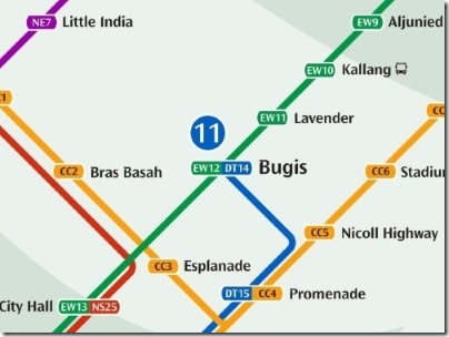 シンガポールのMRT駅ブギス路線図