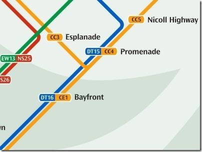 シンガポールのMRT駅プロムナード路線図