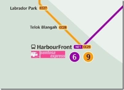 シンガポールのMRT駅ハーバーフロント路線図