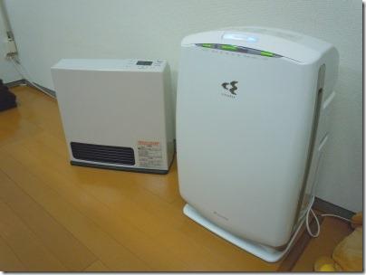 リンナイガスファンヒーターとダイキン加湿機能付き空気清浄機