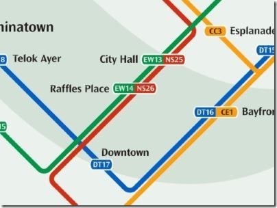 シンガポールのMRT駅ラッフルズプレイス路線図