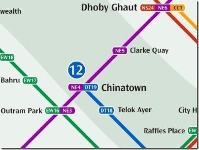 シンガポールのMRT駅チャイナタウン路線図