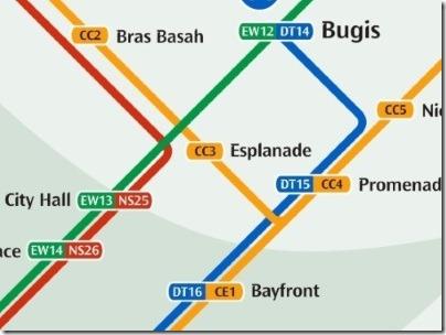 シンガポールのMRT駅エスプラネード路線図